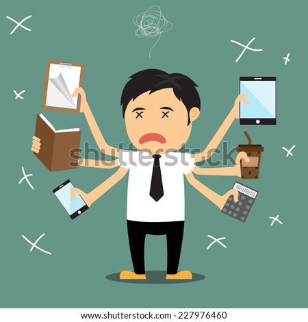 Cartoon businessman error, He several hand failing to multitask and trying to do multiple office tasks at once, vector illustration. - stock vector