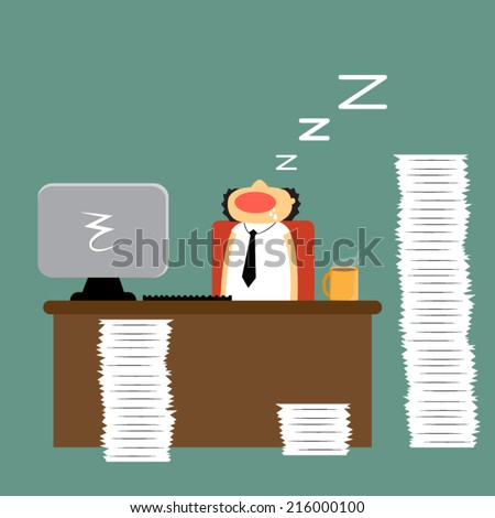 Cartoon businessman falling asleep at his work, vector illustration - stock vector