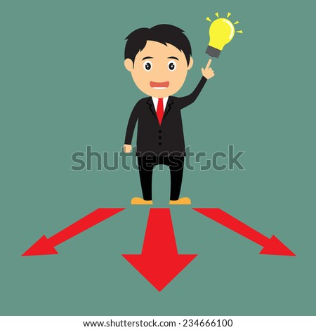 cartoon businessman get idea at red arrows on the floor which point in different directions. A concept of start up project. vector illustration - stock vector
