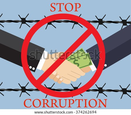 Cartoon Businessman giving a bribe. Vector illustration in flat design on light background with barbed wire. anti Corruption concept. - stock vector