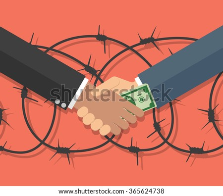 Cartoon Businessman giving a bribe. Vector illustration in flat design on red background with barbed wire. anti Corruption concept. - stock vector