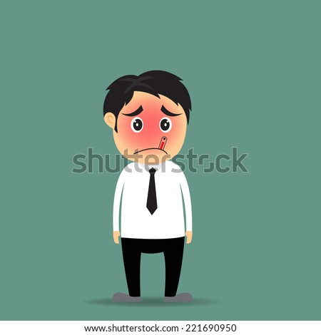 cartoon businessman got sick with thermometer vector illustration. - stock vector