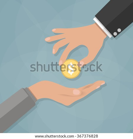 Cartoon businessman Hand giving golden coin to beggar hand. Charity concept. Vector illustration in flat design on grey background - stock vector
