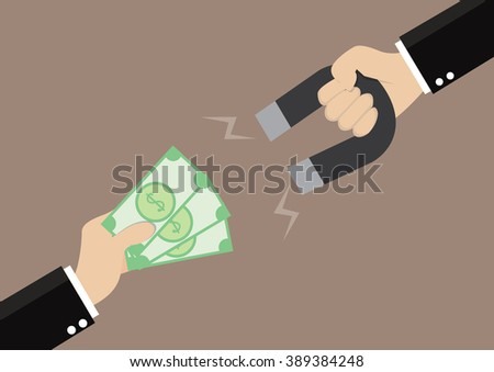 Cartoon, Businessman hand holding magnets to attract money., vector eps10