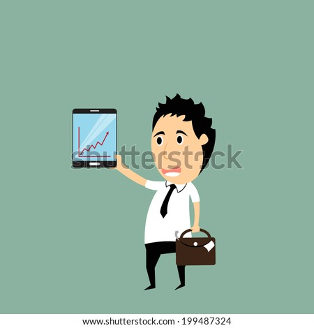 cartoon businessman hold smartphone showing the graph, business vector concept - stock vector