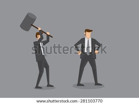 Cartoon businessman holding a huge mallet ready to hammer another unaware guy. Creative vector cartoon characters for office politics concept, isolated on grey background.  - stock vector