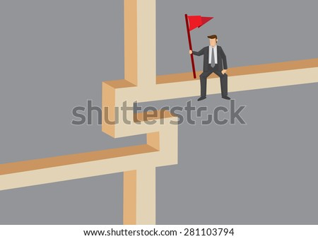 Cartoon businessman holding red flag sitting on dollar sign construction block. Creative vector illustration isolated on grey background. - stock vector