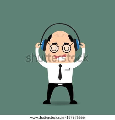 cartoon businessman listening to music