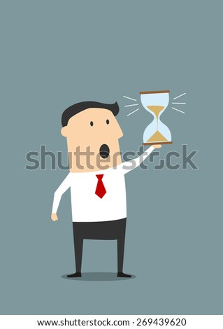 Cartoon businessman looking at hourglass at the end of countdown and worrying about deadline, for time management or deadline concept design. Flat style - stock vector