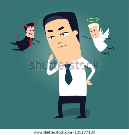 Cartoon businessman making a hard decision - stock vector