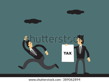 Cartoon businessman running away from tax collector. Vector illustration on tax evasion concept. - stock vector