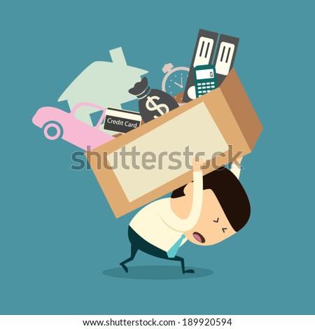 Cartoon businessman shoulder debt box - stock vector