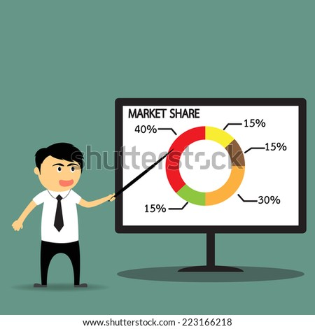 Cartoon businessman showing market share graph on billboard and presenting and advertising on its vector illustration. - stock vector