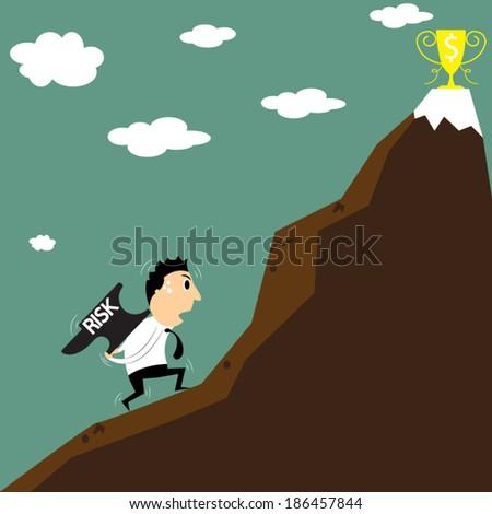cartoon businessman that heavy hard work and risk. - stock vector