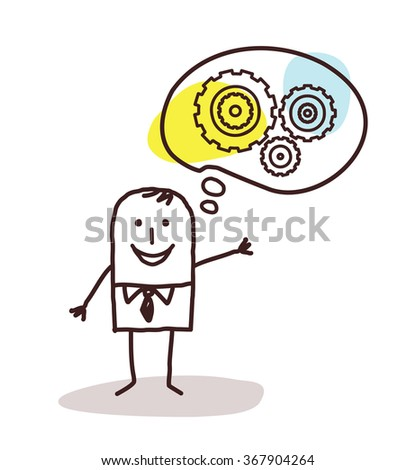 cartoon businessman thinking about new concepts - stock vector