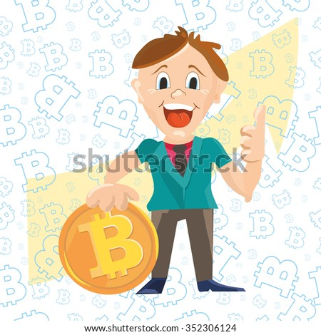 Cartoon businessman thumb up for arrow up and profit with coin bitcoin  vector illustration - stock vector