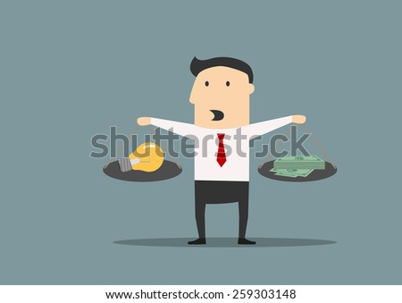 Cartoon businessman weighs the idea and money on scales, flat concept - stock vector