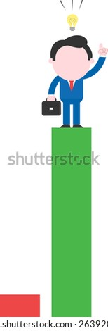 Cartoon businessman with briefcase idea standing on tall green bar beside low red bar - stock vector