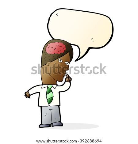 cartoon businessman with huge brain with speech bubble - stock vector