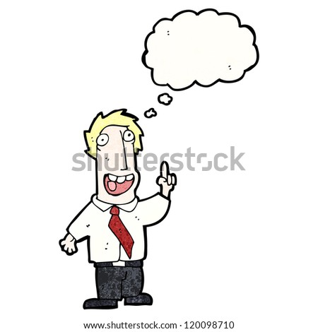 cartoon businessman with idea - stock vector
