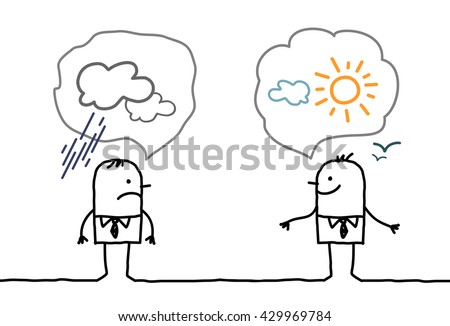 cartoon businessmen - optimistic and pessimistic - stock vector