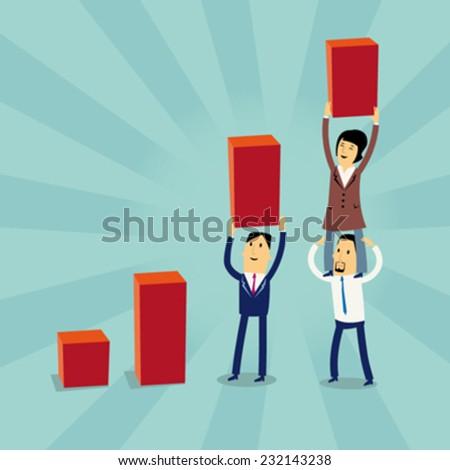 Cartoon businesspeople Growth Concept - stock vector