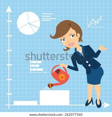 Cartoon businesswoman character is watering growing statistic graph.  - stock vector