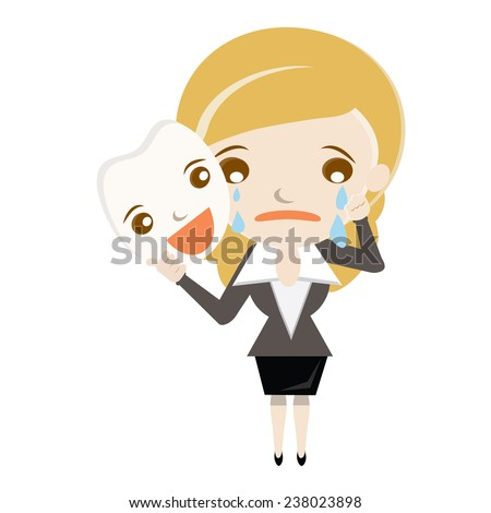 Cartoon Businesswoman hide her sadness under happy mask.Business woman hold emotion face mask. - stock vector