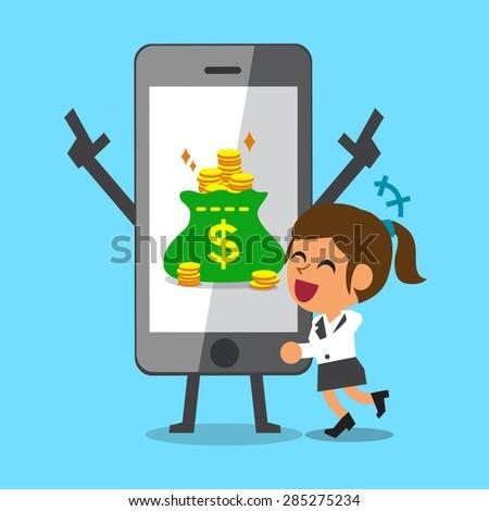 Cartoon businesswoman hugging smartphone that earned money - stock vector