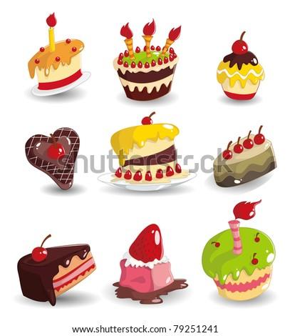 cartoon cake icon - stock vector