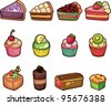 cartoon cake icons set - stock vector