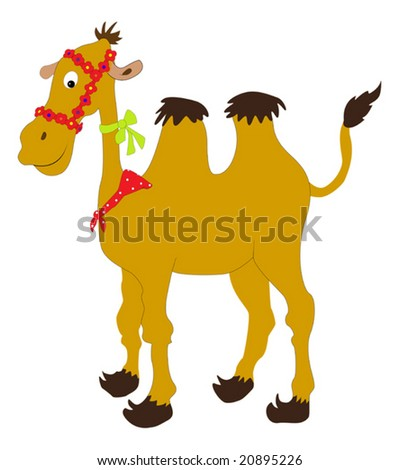 Cartoon camel with colored ribbons - stock vector