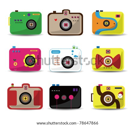 cartoon camera icon set - stock vector