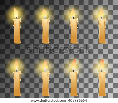 Cartoon candle with fire animation on transparent background with dancing halo. Vector illustration for 2d games. - stock vector