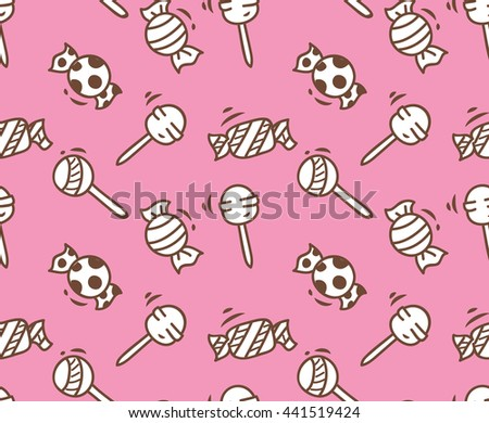 cartoon candy seamless background - stock vector
