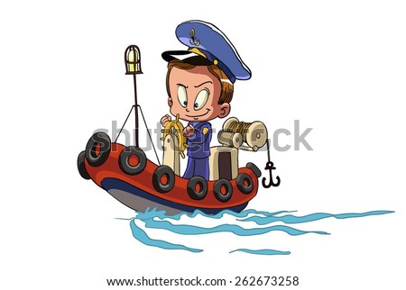 Cartoon captain sailor in uniform on the ship. is insulated on white background