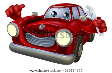Cartoon car  auto repair garage mechanic character holding a wrench and giving a thumbs up gesture - stock vector