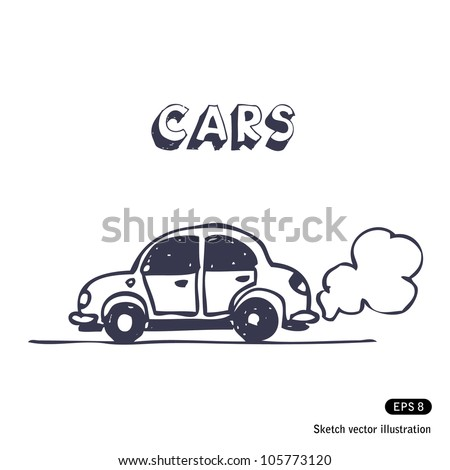 Cartoon car blowing exhaust fumes. Hand drawn sketch illustration isolated on white background - stock vector