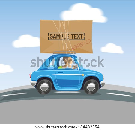 cartoon car carries a box on the roof - stock vector