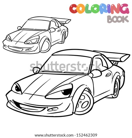 Cartoon Car Character Coloring Book Stock Vector 152462309 ...