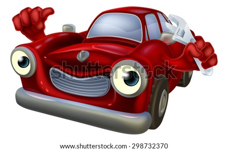 Cartoon car character holding a spanner and giving a thumbs up, auto repair garage mechanic - stock vector