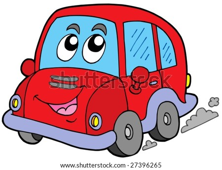Cartoon car on white background - vector illustration.