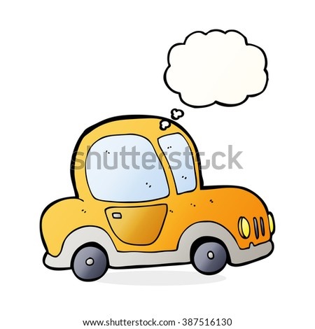 cartoon car with thought bubble - stock vector