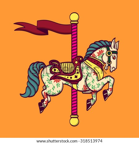 Cartoon carousel horse, funfair carnival merry-go-round pony, amusement park - stock vector