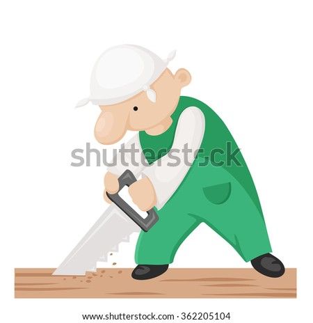 Cartoon carpenter with hand saw. Vector illustration - stock vector