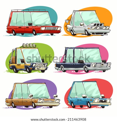 Cartoon Cars Set. - stock vector