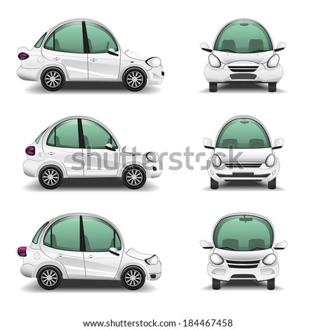 Cartoon Cars side and front view - stock vector
