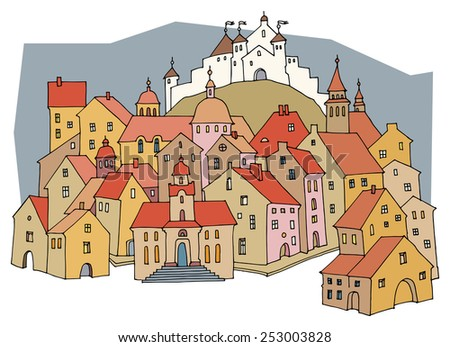 Cartoon castle - stock vector