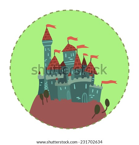 Cartoon Castle on a Hill flat icon. The vector illustration of cartoon castle on a hill for ui, web games, tablets, wallpapers, and patterns. - stock vector