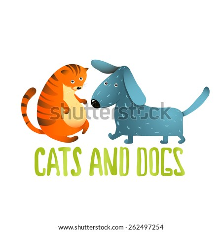 Cartoon Cat and Dog Kids Friendship. Cartoon cat and dog on a white background. Vector EPS10. - stock vector